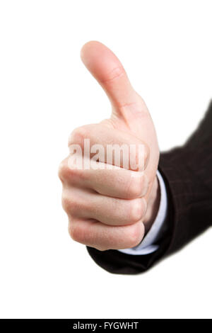 Hand showing ok sign isolated on white - Stock Photo