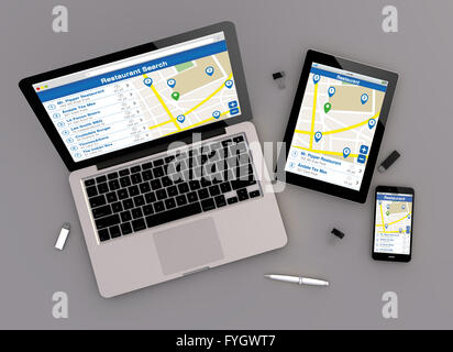3d render of restaurant search responsive devices with laptop computer, tablet pc and touchscreen smartphone. top - Stock Photo