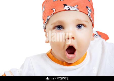 Amazed Baby Boy Isolated on White - Stock Photo