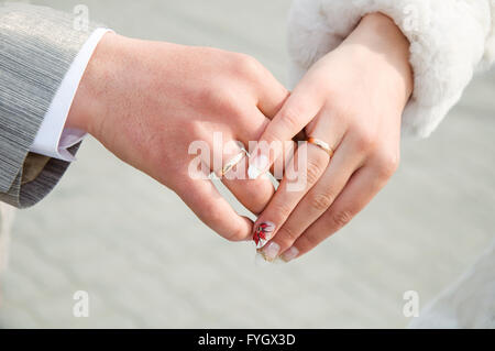 Wedding couple hands. Love forever - Stock Photo