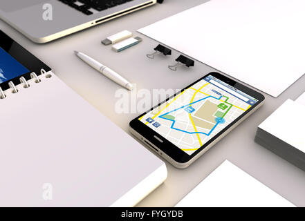 gps route planner concept: close up view of a 3d generated touchscreeen smartphone with gps interface on the screen. - Stock Photo