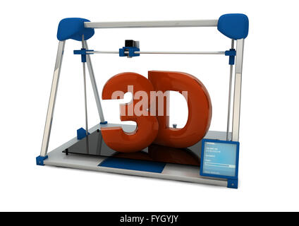render of a 3d printer with text 3d - Stock Photo