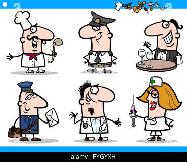 cartoon people occupations characters set - Stock Photo
