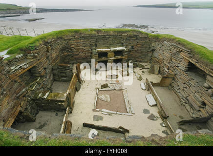 Skara Brae, Neolithic Village, Sandwick, Orkney Islands, Scotland - Stock Photo