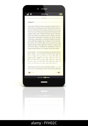 smartphone render with an ebook app on the screen - Stock Photo