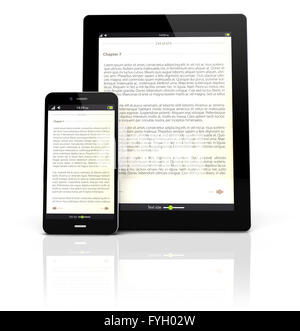 render of a tablet pc and a smart phone with an ebook app on the screen - Stock Photo