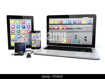 smartphone, media player, tablet pc and laptop - Stock Photo