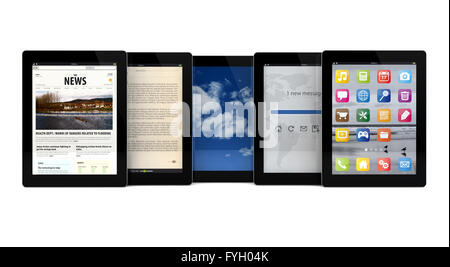 render of five tablets with different apps on the screen - Stock Photo