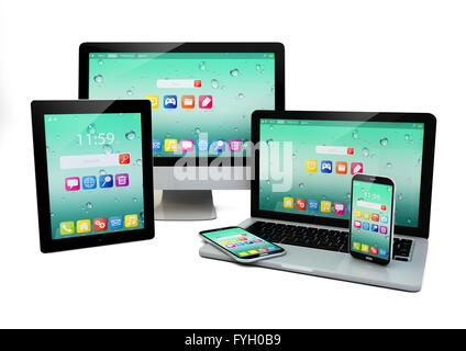 business laptop or office notebook, tablet PC, computer and smartphones with color interface with application icons - Stock Photo