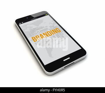 render of an original smartphone with mobile branding on the screen. Screen graphics are made up. - Stock Photo