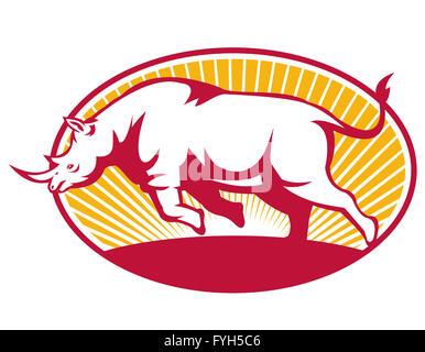 Rhinoceros Charging Side Retro - Stock Photo