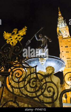 Neptune's Fountain in front of Town Hall, Gdansk - Stock Photo