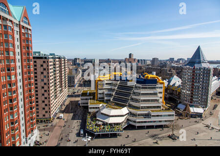 Downtown, skyline of Rotterdam, Blaak square cube residential buildings, and Kijk Kubus  houses in cube shape, Netherlands, - Stock Photo