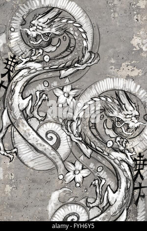 Tattoo art illustration, japanese dragons - Stock Photo