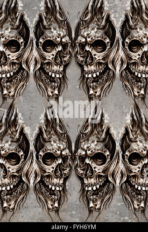 Tattoo art illustration, skulls wall - Stock Photo