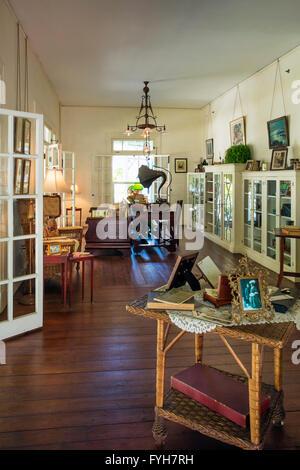 Living Room of 'Seminole Lodge' - winter home of inventor Thomas Edison, Ft Myers, Florida, USA - Stock Photo