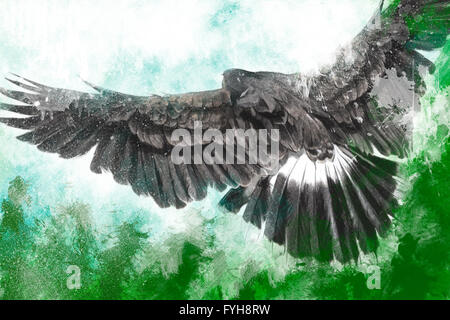 low-flying eagle illustration over artistic background - Stock Photo