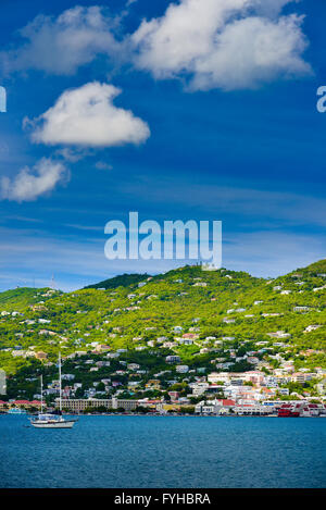 Sunset in St. Thomas from Carnival Cruise - Stock Photo