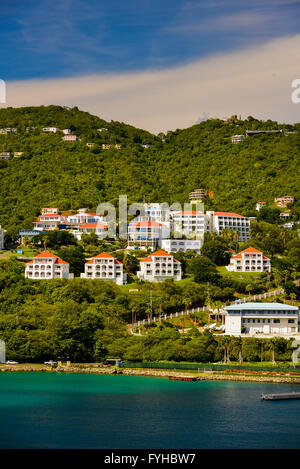 Sunset in St. Thomas from Carnival Cruise Line Ship - Stock Photo