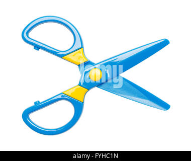 Blue and Yellow Plastic Scissors Isolated on White Background. - Stock Photo