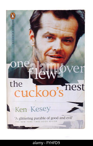 The front cover of one flew over the cuckoo's nest by Ken Kesey photographed against a white background. - Stock Photo