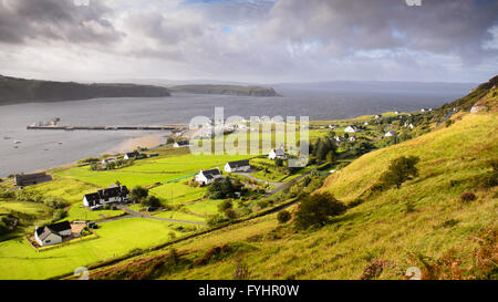 Looking down on Uig village on the Isle of Skye from the road across the Trotternish. - Stock Photo
