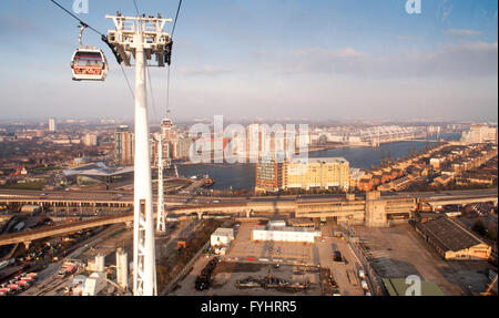 The Royal Docks viewed from the 'Emirates Air Line' cable car in the London Borough of Newham. - Stock Photo