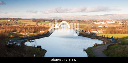 The junction of the Forth and Clyde Canal and the Union Canal at Falkirk. - Stock Photo
