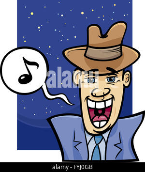 singing man cartoon illustration - Stock Photo