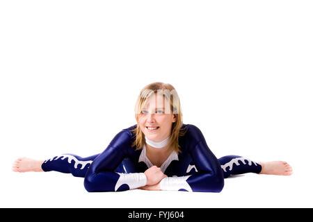 Resting acrobat girl - Stock Photo