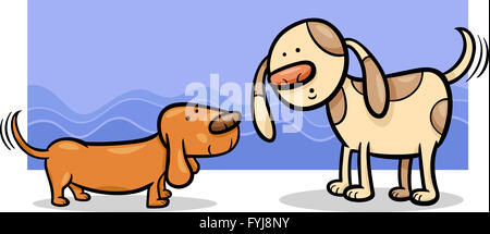dogs wagging tails cartoon - Stock Photo