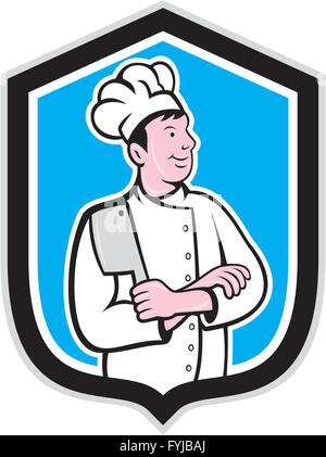 Chef Cook Holding Knife Arms Crossed Cartoon - Stock Photo