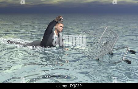 Businessman and shopping cart sinking - 3D render - Stock Photo
