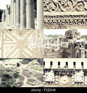Pillars, ornaments and ruined buildings set of images of ancient Roman architecture in Side, Turkey - Stock Photo