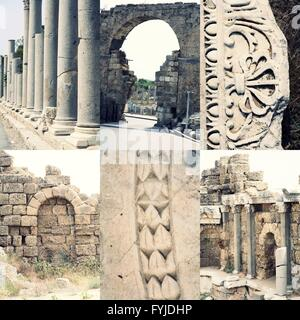 Ancient roman architecture - ruined buildings with pillars and weathered  marble ornament, famous place Side (Turkey) - Stock Photo