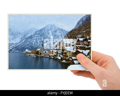Mountains ski resort Hallstatt Austria photography in hand - Stock Photo