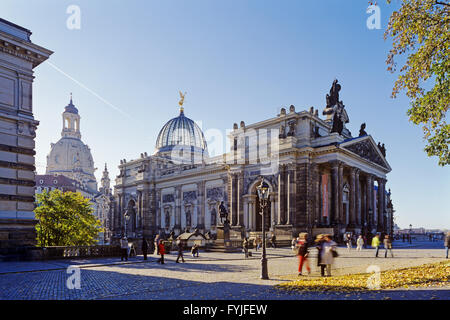 Academy of Arts and Frauenkirche, Dresden, Germany - Stock Photo