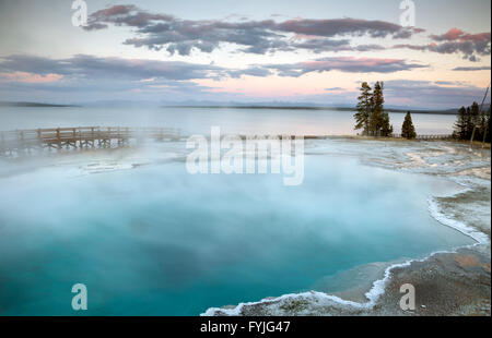 WYOMING - Evening at Black Pool on the shore of Yellowstone Lake in the West Thumb Geyser Basin in Yellowstone National - Stock Photo