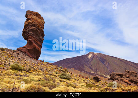 Finger Of God rock at volcano Teide in Tenerife island - Canary - Stock Photo