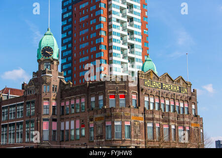 Hotel New York, former building of the Holland America Line, at the Nieuwe Maas, Wilhelminapier Kop van Zuid, Rotterdam, - Stock Photo