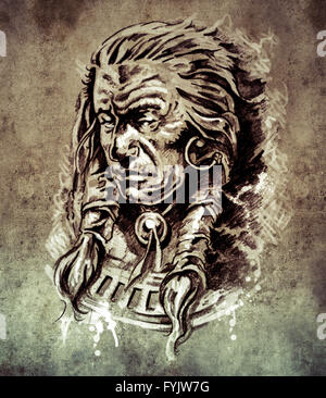 Sketch of tattoo art, Portrait of american indian chief in national dress  on vintage paper, handmade illustration - Stock Photo