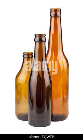 Three empty brown bottles - Stock Photo