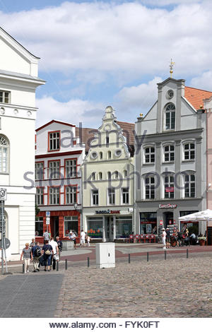 Patrician houses at market place of Wismar - Stock Photo