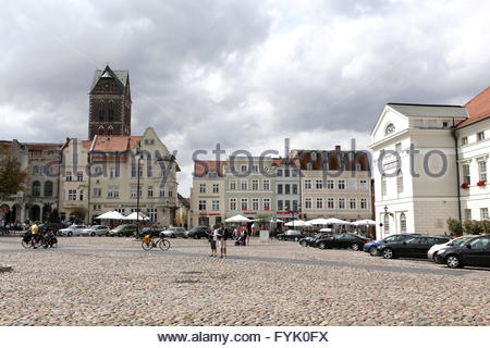 The historic market place in Wismar - Stock Photo