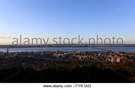 Elevated view of Tay Road and Rail bridge and Dundee at dawn Scotland  April 2016 - Stock Photo