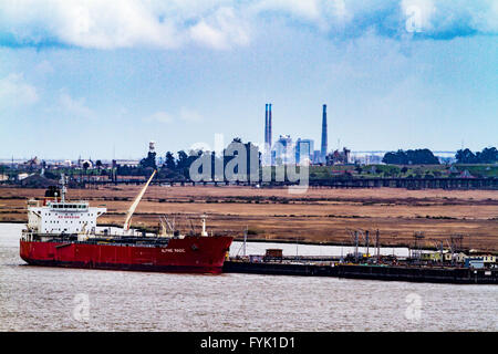 An Oil Tanker docked at a delivery terminal in Martinez California