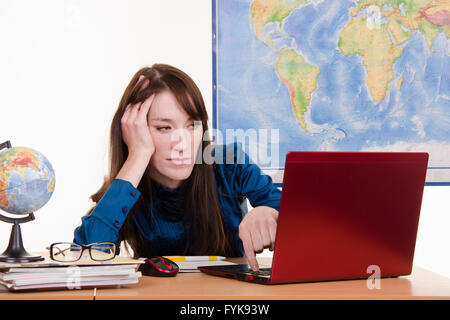travel agency manager tired and evil looks in the laptop stock photo - Agency Manager