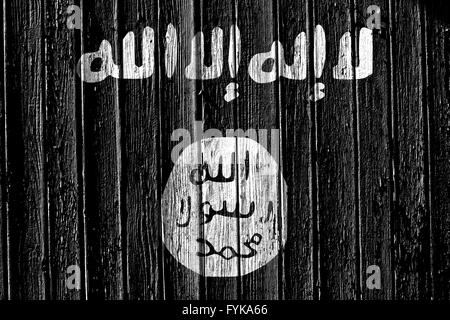 flag of Islamic State of Iraq and the Levant paint - Stock Photo