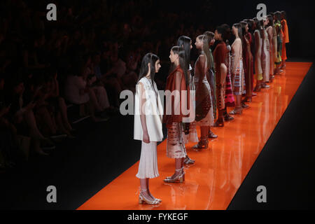 Sao Paulo, Brazil. 26th Apr, 2016. Models present creations of Lolitta during the Sao Paulo Fashion Week, in Sao - Stock Photo