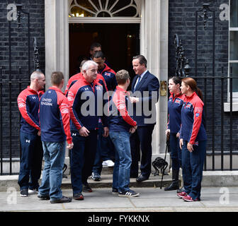 London 27th April 2016 Prime Minister David Cameron meets with members of the UK Invictus Games team at Downing - Stock Photo